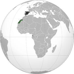 Spanish Sahara - Green: Spanish Sahara. Dark grey: Other Spanish possessions. Darkest grey: Spain.