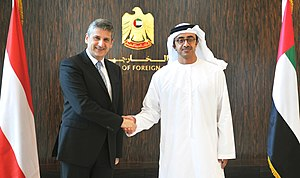 Abdullah bin Zayed Al Nahyan - Abdullah with Michael Spindelegger in 2013