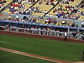 St. Louis Dugout, St. Louis Cardinals 0, Los Angeles Dodgers 0, Dodger Stadium, Los Angeles, California (14516814202).jpg