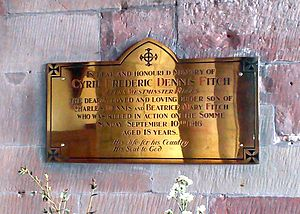 Queen's Westminsters - Memorial to C.F.D. Fitch of the Queen's Westminster Rifles, killed in the Battle of the Somme in 1916