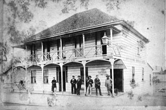 Australian pub - The Brisbane Bridge Hotel, Brisbane, c. 1878.