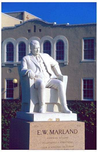The statue of oilman E. W. Marland, founder of Marland Oil (later Conoco), who later was elected as a U.S. congressman and Oklahoma governor. Statue of E. W. Marland.jpg