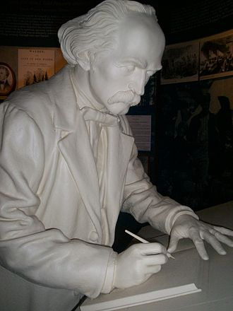 The Wayside - This statue of Nathaniel Hawthorne once stood in the visitor center of The Wayside but has since been moved to his writing tower.