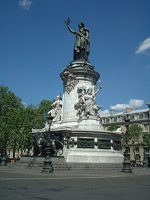 Place de la République - Monument at the centre of the Place de la République, topped by a statue of Marianne