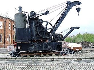 Steam crane - Railway steam crane, with vertical cross-tube boiler, at Summerlee Heritage Park