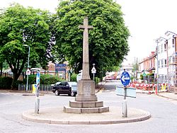 The Stone Cross war memorial, near the A4040