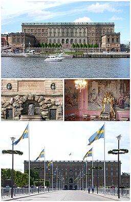 Stockholms Slott:   øverst den østlige facade, i midten brønd og Oscar IIs mindetavle på den sydøstlige fløj samt Lovisa Ulrikas audiensrum, den nederste facade mod nord.