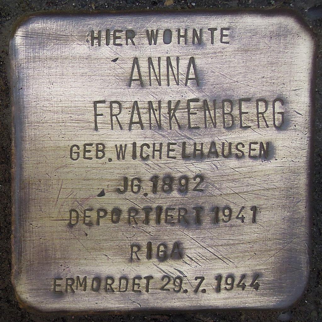 Stolperstein für Anna Frankenberg geb. Wichelhausen