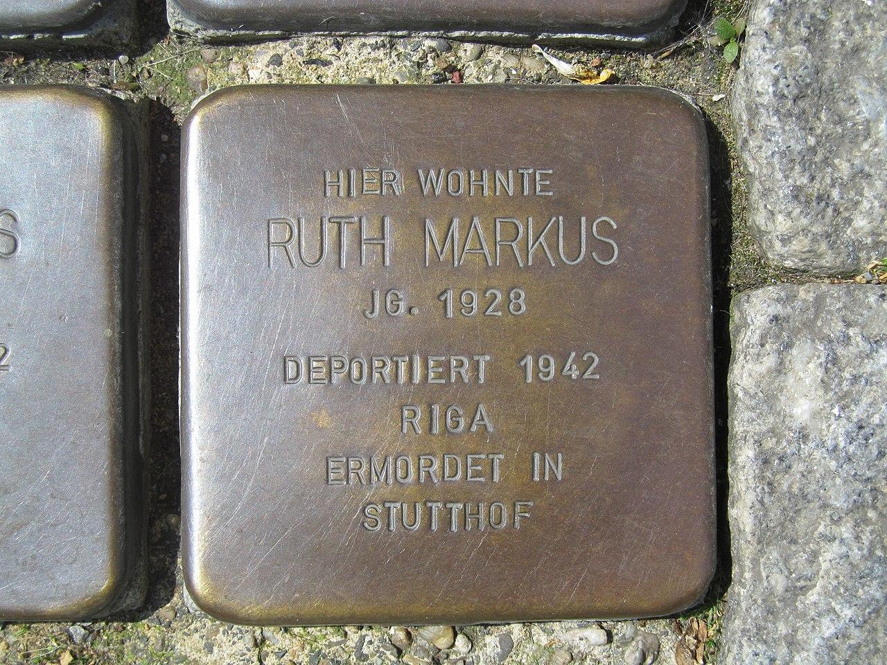 der Stolperstein für Ruth Markus