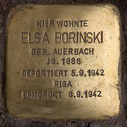Photo of Elsa Borinski brass plaque