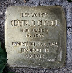 Photo of Gertrud Cussel brass plaque