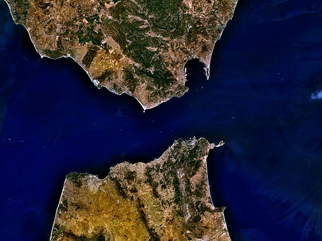 Overhead view of the Strait of Gibraltar