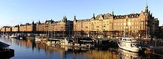 Strandvägen - Panoramic view of Strandvägen from Djurgårdsbron.