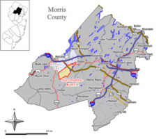 Map of Succasunna-Kenvil CDP in Morris County. Inset: Location of Morris County in New Jersey.