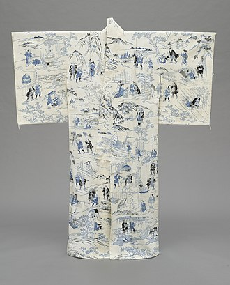 "Katazome - Summer Kimono (yukata, early 19th century) with Illustrations of Hizakurige (""Shank's Mare""), an 1802 novel by Jippensha Ikku: katazome on plain-weave cotton fabric with silk crepe lining (Los Angeles County Museum of Art)"