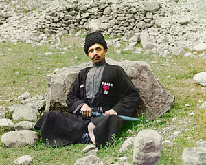 History of Dagestan - Dagestani man, photographed by Sergey Prokudin-Gorsky, circa 1907 to 1915