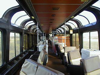 Lounge car - Interior of an Amtrak Superliner Sightseer lounge car.