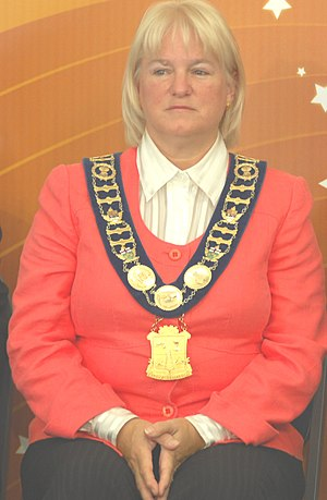 Livery collar - Susan Fennell, mayor of Brampton, Ontario, Canada, wears a modern mayoral collar.