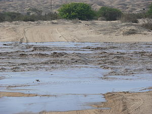 Swakop River - The Swakop River flooding 20 km outside Swakopmund on 15 February 2008.