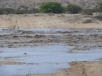 Swakop River - The Swakop River flooding 20 km outside Swakopmund on 15 February 2008.