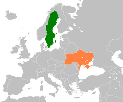 Map indicating locations of Sweden and Ukraine