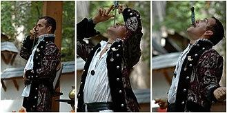 Sword swallowing - Johnny Fox  sword swallowing at Maryland Renaissance Festival.