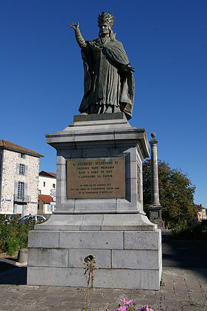Pope Sylvester II - Statue of Pope Sylvester II in Aurillac, Auvergne, France.