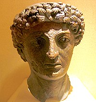 The bronze head of a Roman god, found in Lillebonne, in the Museum of Antiquities in Seine-Maritime