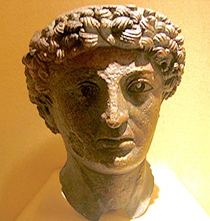 History of Normandy - The bronze head of a Roman god, found in Lillebonne, in the Museum of Antiquities in Seine-Maritime