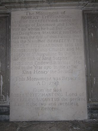 Robert Fitzharding - Marble mural monumental tablet erected 1742 to Robert FitzHarding in the Lady Chapel, St Augustine's Abbey (Bristol Cathedral).
