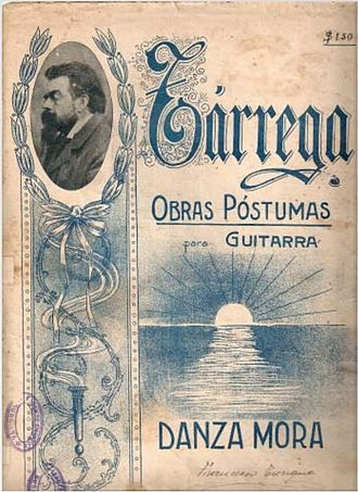 "Francisco Tárrega - ""Danza Mora"", sheet music"