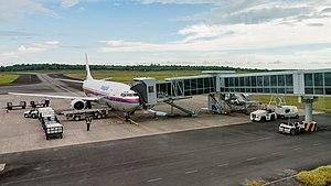 Tawau Airport - One of Tawau Airport's two aerobridges in use