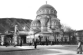 Neo-Byzantine architecture in the Russian Empire - Composition of Tbilisi cathedral became de facto industry standard well before it was completed. Note the small, fully detached belltower in the back yard.