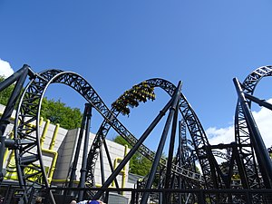 The Smiler - The ride's dive loop (batwing) element