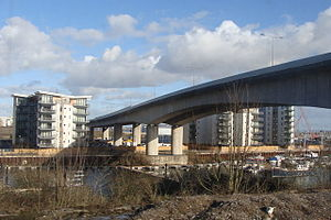 A4055 road - Image: The A4055 road bridge over the River Ely