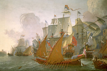 Lieve Pietersz Verschuier, Dutch ships bomb Tripoli in a punitive expedition against the Barbary pirates, c. 1670 The Dutch in Tripoli.jpg
