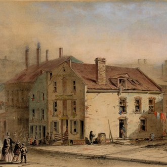 The Old Brewery - The Old Brewery within the slums of the Five Points, Manhattan, New York City in a painting before its demolition, circa 1850