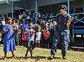 The Pacific Fleet Band entertains children in Savusavu, Fiji, during Pacific Partnership 2015 150612-N-HE318-131.jpg
