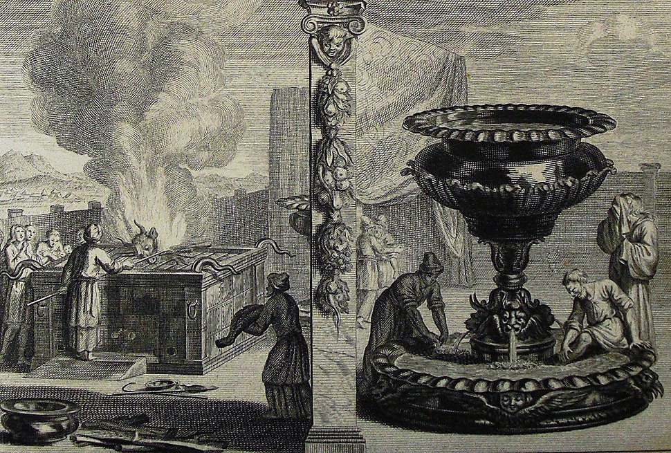 The Phillip Medhurst Picture Torah 476. The altar and laver. Exodus cap 38 vv 1-8. Mortier
