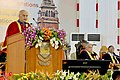 The President, Shri Ram Nath Kovind addressing at the Post-Centenary Diamond Jubilee 160th Convocation of University of Madras, at Chennai on May 05, 2018. The Governor of Tamil Nadu, Shri Banwarilal Purohit is also seen.JPG