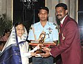 The President, Smt. Pratibha Devisingh Patil presenting the Arjuna Award-2010 to Shri Kapil Deb K.J. for Volleyball, in a glittering ceremony, at Rashtrapati Bhawan, in New Delhi on August 29, 2010.jpg