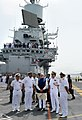 The Prime Minister, Shri Narendra Modi on the deck of INS Vikramaditya, in Goa on June 14, 2014. The Chief of Naval Staff, Admiral R.K. Dhowan is also seen.jpg