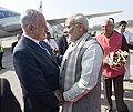 The Prime Minister, Shri Narendra Modi receives the Prime Minister of Israel, Mr. Benjamin Netanyahu, on his arrival, at Gujarat on January 17, 2018. The Governor of Gujarat, Shri O.P. Kohli is also seen (1).jpg