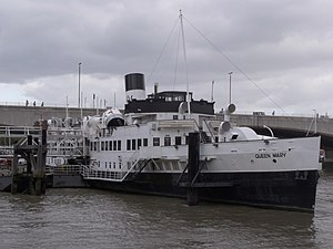 TS Queen Mary - Queen Mary moored on the Victoria Embankment on 16 October 2009