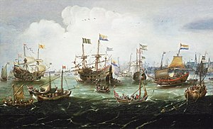 Jacob Corneliszoon van Neck - The voyage's return in 1599, by Andries van Eertvelt