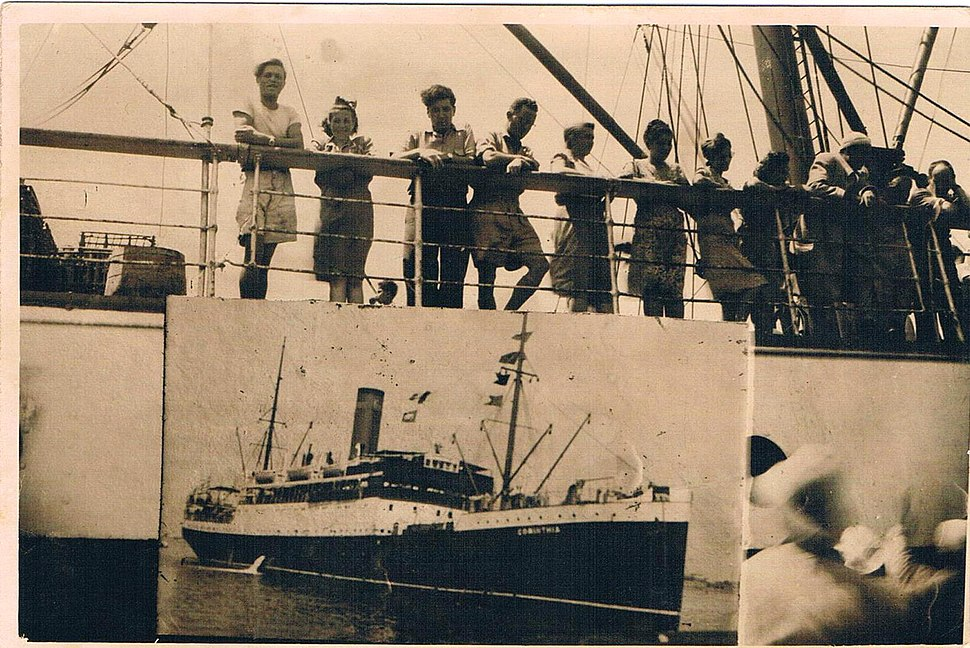 The Ship Corinthia, July 1947 Alexandria port. On the deck illegal and legal immigration to Israel