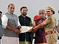 The Union Home Minister, Shri Rajnath Singh presenting the certificates, during the launch of the Student Police Cadet (SPC) programme for nationwide implementation, in Gurugram, Haryana.JPG