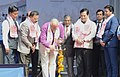 The Union Minister for Civil Aviation, Shri Ashok Gajapathi Raju Pusapati lighting the lamp to inaugurate the laying the Foundation Stone for New Integrated Terminal Building, Guwahati Airport (New Terminal Site, SOS Road),.jpg