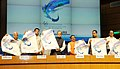 The Union Minister for Finance, Corporate Affairs and Information & Broadcasting, Shri Arun Jaitley releasing a poster on 46th International Film Festival of India (IFFI), at a press conference.jpg