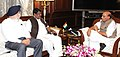 The Union Minister for Tribal Affairs, Shri Jual Oram calling on the Union Home Minister, Shri Rajnath Singh, in New Delhi on March 04, 2016. The Member of Parliament, Shri S.S. Ahluwalia is also seen.jpg